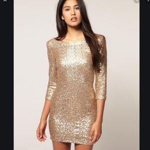 TFNC Gold Sequin NYE Dress